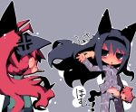 ahoge akemi_homura anger_vein angry animal_ears blue_eyes blue_hair blush cat_ears dango_mushi hair_flip headband kaname_madoka long_hair mahou_shoujo_madoka_magica pajamas panties pantyshot pink_hair pocky ponytail red_hair redhead sakura_kyouko short_twintails smile striped striped_panties tail twintails underwear very_long_hair waving