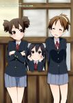 3girls black_hair brown_eyes brown_hair closed_eyes eyes_closed hirasawa_ui k-on! long_hair multiple_girls nakano_azusa nukunuku ponytail school_uniform short_hair short_twintails suzuki_jun twintails window
