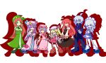 6+girls :d ^_^ adenine_(artist) ahoge alternate_costume apron ascot bat_wings beret black_dress blonde_hair blue_eyes blue_hair blush bonnet book boots bow butler china_dress chinese_clothes closed_eyes crescent crossed_arms cup dress everyone eyes_closed flandre_scarlet frills glasses hat hat_bow hat_ribbon head_wings highres hong_meiling izayoi_sakuya jewelry koakuma light_smile long_hair long_skirt madou_monogatari maid maid_headdress mary_janes miniskirt moon morichika_rinnosuke mug multiple_girls open_eyes open_mouth parody patchouli_knowledge pink_dress purple_eyes purple_hair puyopuyo red_dress red_eyes red_hair redhead ribbon shadow shoes short_hair siblings side_ponytail silver_hair simple_background sisters skirt smile star teacup touhou v v_arms vampire very_long_hair violet_eyes white_hair wings wink