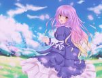 bad_id blonde_hair dress gradient_hair hijiri_byakuren long_hair meadow multicolored_hair nekokotei purple_hair solo touhou two-tone_hair