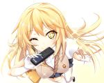 +_+ 1girl blonde_hair controller gloves long_hair maririn remote_control school_uniform shokuhou_misaki thigh-highs to_aru_kagaku_no_railgun to_aru_majutsu_no_index wink yellow_eyes