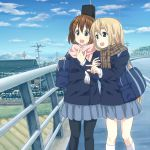 2girls :d arms_interlocked bag black_pantyhose blonde_hair blue_sky brown_eyes brown_hair clouds eyebrows hirasawa_yui house k-on! kneehighs kotobuki_tsumugi long_hair mountain_pukuichi multiple_girls open_mouth pantyhose pointing scarf school_bag school_uniform short_hair sky smile white_kneehighs