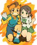 endou_mamoru green_eyes green_hair grin headband inazuma_eleven inazuma_eleven_(series) kino_aki school_uniform smile usikani