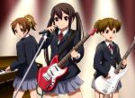 brown_eyes brown_hair diesel-turbo guitar hirasawa_ui instrument k-on! long_hair microphone microphone_stand nakano_azusa ponytail school_uniform short_hair suzuki_jun twintails