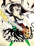 "1girl akiyama_mio bass_guitar black_eyes black_hair blush comic don't_say_""lazy"" dress facepaint fingerless_gloves gloves hat hime_cut instrument k-on! left-handed long_hair mini_top_hat pantyhose solo top_hat"