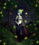 antennae cape collarbone fireflies glowing grass green_hair highres itokana midriff navel night pants red_eyes shirt short_hair solo torn_clothes torn_shirt touhou unbuttoned wriggle_nightbug