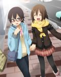 :d bag black_legwear black_pantyhose casual glasses half_rim_glasses hand_holding happy hirasawa_yui holding_hands k-on! kagiana leggings manabe_nodoka multiple_girls open_mouth pantyhose purse red-framed_glasses scarf semi-rimless_glasses skirt smile under-rim_glasses