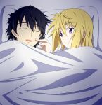 1girl bed black_hair blonde_hair blue_hair blush charlotte_dunois closed_eyes couple covering infinite_stratos open_mouth orimura_ichika pillow poke poking purple_eyes ribonzu short_hair sleeping smile under_covers