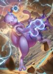 blurry commentary electricity energy_ball floating gen_1_pokemon glowing highres legendary_pokemon legs_apart mewtwo outdoors pokemon rock spareribs toes violet_eyes