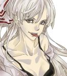 black_bra bra bust collarbone eyelashes face fujiwara_no_mokou lingerie off_shoulder poruhi shirt solo tongue touhou underwear undressing white_hair white_shirt