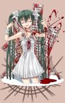 bandage blood closed_eyes dress eyes_closed flower green_hair hair_flower hair_ornament hatsune_miku highres long_hair musical_note razor sentoiro smile twintails very_long_hair vocaloid wrist_cutting