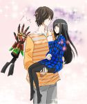 bad_id carrying height_difference hino_eiji kamen_rider kamen_rider_ooo_(series) mezul miti-ru pantyhose princess_carry size_difference sparkle