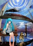 aqua_eyes aqua_hair bad_id bench bird bridge cat cloud clouds dog feet_in_water hatsune_miku lighthouse long_hair necktie reflection sitting skirt sky soaking_feet sun toino train twintails very_long_hair vocaloid water