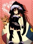 armband belt black_hair brown_eyes christmas cross gloves hat long_hair note-chan original reindeer smile solo thigh-highs thighhighs twintails very_long_hair