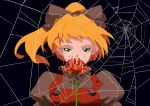 absurdres blonde_hair bow flower green_eyes hair_bow highres kurodani_yamame mtmy ponytail solo spider_lily spider_web touhou