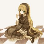 blonde_hair checkered checkered_floor gosick gothic_lolita green_eyes lolita_fashion long_hair mizutamako on_floor pipe sitting solo very_long_hair victorica_de_blois victorique_de_broix