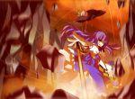 blue_hair floating_object hat hinanawi_tenshi long_hair nunua red_eyes smirk solo sword touhou weapon