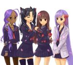 4girls :d ^_^ ahoge bindi black_hair black_legwear blush_stickers brown_eyes brown_hair brown_legwear chin_rest closed_eyes dark_skin fate/extra fate/extra_ccc fate_(series) female_protagonist_(fate/extra) fujimo_ruru glasses grin hair_over_shoulder hair_ribbon hands_on_shoulders holding_arm jewelry labcoat long_hair matou_sakura multiple_girls neck_ring necklace open_mouth pantyhose petals pleated_skirt ponytail purple_hair rani_viii ribbon school_uniform serafuku skirt smile thigh-highs toosaka_rin two_side_up v_arms very_long_hair violet_eyes