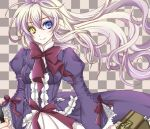 bow checkered checkered_background dress heterochromia long_hair mary_clarissa_christie purple_dress ribbon sakurairyouka shikkoku_no_sharnoth simple_background smile solo suitcase white_hair yellow_eyes