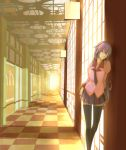 1girl against_wall artist_request bakemonogatari black_legwear checkered checkered_floor door hallway leaning long_hair monogatari_(series) necktie purple_hair senjougahara_hitagi skirt solo thigh-highs very_long_hair violet_eyes window zettai_ryouiki