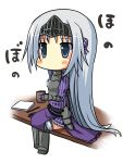 armor armored_dress blue_eyes blush breastplate chibi cup eucliwood_hellscythe faulds gauntlets greaves highres kore_wa_zombie_desu_ka? long_hair notepad pencil ribbon shirasu_youichi silver_hair sitting solo vambraces visor_(armor) white_background