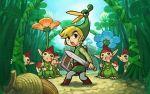 acorn ezlo flower forest highres link minish sword the_legend_of_zelda toon_link wallpaper weapon