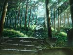 5838 forest grass kashi_takahisa kusakabe_satsuki nature sandals scenery single_shoe solo spirit stairs sunbeam sunlight tonari_no_totoro torii tree tree_shade