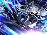 bloody_rondo blue_eyes game_cg gray_hair long_hair lynette_vance makita_maki skirt weapon