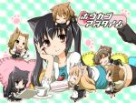 :d akiyama_mio animal_ears black_hair brown_eyes cake casual cat_ears cat_tail catgirl chibi cup drooling food fujieda_miyabi highres hirasawa_ui hirasawa_yui k-on! kemonomimi_mode kotobuki_tsumugi long_hair maid minigirl nakano_azusa on_stomach open_mouth paw_print pillow smile suzuki_jun tail tainaka_ritsu teacup thigh-highs thighhighs translated twintails