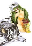 arrancar bleach breasts facial_mark green_eyes green_hair helmet japanese_clothes kimono large_breasts long_hair neliel_tu_oderschvank nelliel_tu_odelschwanck short_kimono skull swt-team tiger white_tiger