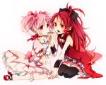 bad_feet bad_hands bad_id blush bow dress fang female gloves hair_bow kaname_madoka kneehighs long_hair mahou_shoujo_madoka_magica mouth_hold moyakami multiple_girls pink_hair pocky pocky_kiss ponytail red_eyes red_hair redhead sakura_kyouko shared_food short_hair short_twintails simple_background skirt thigh-highs thighhighs twintails white yuri zettai_ryouiki