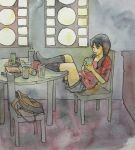 bag black_hair black_kneehighs black_legwear bottle can chair drinking feet_on_table glass indoors kneehighs long_hair looking_away no_shoes original shorts sitting solo straw t-shirt table taxi_(artist) traditional_media twintails water_bottle watercolor_(medium)