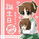 birthday brown_eyes brown_hair doll hirasawa_ui hirasawa_yui hug k-on! lowres moegi_nenene ponytail school_uniform serafuku short_hair