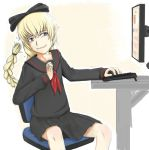 4chan blonde_hair blue_eyes bow braid computer drawfag hair_bow highres school_uniform serafuku troll-tan