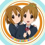 brown_hair errant hirasawa_ui hirasawa_yui k-on! ponytail school_uniform short_hair siblings sisters