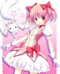 bow bows bubble_skirt gloves kaname_madoka kyubey kyuubee magical_girl mahou_shoujo_madoka_magica okazaki_mitsuki open_mouth pink_hair red_eyes short_hair smile twintails white_gloves