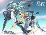aerial_battle airplane battle f-22 hair_ribbon j-20 jet mecha_musume military missile multiple_girls original people's_liberation_army_air_force personification ponytail ribbon yin_gren
