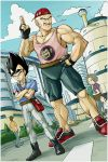 baseball_cap black_hair boots building capri_pants casual cloud clouds comedy cross-laced_footwear dragon_ball dragon_ball_z dragonball_z facial_hair fingerless_gloves funny gloves grin hat hi-ho- highres lace-up_boots monkey_tail muscle mustache nappa oozaru pants road satchel shirt shoes smile sneakers spiked_hair striped striped_shirt sunglasses tail tank_top two-finger_salute vegeta widow's_peak