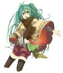 belt green_eyes green_hair hatsune_miku highres open_mouth outstretched_arm scarf shorts simple_background solo suspenders thigh-highs thighhighs vocaloid yuhki_k
