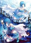 blue_eyes blue_hair cape commentary highres kneeling light_smile magical_girl mahou_shoujo_madoka_magica miki_sayaka pico_(picollector79) profile short_hair spoilers sword weapon