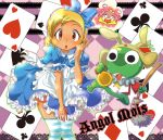 alice_(cosplay) alice_(wonderland)_(cosplay) alice_in_wonderland angol_mois animal_ears apron asami blonde_hair blue_dress blue_legwear blue_thighhighs blush bow broom brown_eyes bunny_ears card card_background cards cosplay dark_skin dress dress_tug hair_bow hinata_natsumi keroro keroro_gunsou kogal playing_card playing_cards short_hair standing striped striped_legwear striped_thighhighs sweat sweatdrop thigh-highs thighhighs too_many_cards watch zettai_ryouiki