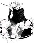 :p chin_rest drum drumsticks e._t._liu e.t._liu instrument k-on! monochrome off_shoulder oversized_object pants short_hair signature sitting solo t-shirt tainaka_ritsu tongue