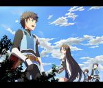 blue_hair casey_(tov) cloud clouds damuron_atomaisu green_eyes letterboxed long_hair sky spoilers tales_of_(series) tales_of_vesperia uniform very_long_hair yeager yoshida_nishi