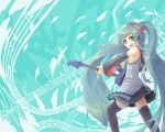 :d aqua_eyes aqua_hair detached_sleeves guitar hatsune_miku headset hiiragi_shou instrument long_hair necktie open_mouth skirt smile solo thigh-highs thighhighs twintails very_long_hair vocaloid