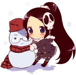 1girl black_hair blush boots bucket chibi coat elsea_de_lute_irma fur_trim glasses hair_ornament kami_nomi_zo_shiru_sekai katsuragi_keima kimoko long_hair mittens objectification ponytail scarf scrunchie skull_hair_ornament smile snowing snowman solo very_long_hair violet_eyes winter_clothes