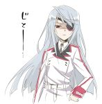 eyepatch infinite_stratos lapel laura_bodewig long_hair red_eyes silver_hair simple_background sketch solo