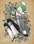 arm_support bare_shoulders blue_eyes buzz coat flower fur fur_hat fur_trim gift gloves green_hair gumi hat holding holding_gift leg_warmers petals short_hair sitting smile solo vocaloid winter_clothes