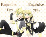 aqua_eyes arm_warmers blonde_hair bow brother_and_sister detached_sleeves dress hair_ornament hairclip headphones kagamine_len kagamine_rin necktie open_mouth patterned ribbon short_hair siblings sitting smile star text thigh-highs thighhighs twins vocaloid zettai_ryouiki zukeyni