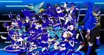 4girls 6+boys abare_blue am-atlas ao_ranger bakuryuu_sentai_abaranger battle_fever_j battle_france blue blue_dolphin blue_flash blue_mask blue_racer blue_swallow blue_three blue_turbo bouken_blue bow_(weapon) cape change_pegasus chikyuu_sentai_fiveman choudenshi_bioman choujin_sentai_jetman choujuu_sentai_liveman chouriki_sentai_ohranger choushinsei_flashman dai_sentai_goggle-v deka_blue dengeki_sentai_changeman denji_sentai_megaranger denshi_sentai_denziman denzi_blue dia_jack dyna_blue engine_sentai_go-onger female five_blue gao_blue geki_blue gekisou_sentai_carranger ginga_blue go-on_blue go_blue goggle_blue gogo_sentai_boukenger gokai_blue gosei_blue gosei_sentai_dairanger hikari_sentai_maskman himitsu_sentai_goranger hurricane_blue hyakujuu_sentai_gaoranger jakq_dengekitai juuken_sentai_gekiranger kagaku_sentai_dynaman kaizoku_sentai_gokaiger kousoku_sentai_turboranger kyouryuu_sentai_zyuranger kyuukyuu_sentai_gogo_five magi_blue mahou_sentai_magiranger male mega_blue mirai_sentai_timeranger multiple_boys multiple_girls ninja_blue ninja_sentai_kakuranger ninpuu_sentai_hurricaneger oh_blue samurai_sentai_shinkenger scarf seijuu_sentai_gingaman sentai shinken_blue speed_lines super_sentai sword taiyou_sentai_sun_vulcan tenma_ranger tensou_sentai_goseiger time_blue tokusou_sentai_dekaranger tricera_ranger vul_shark weapon