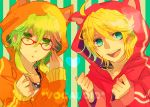adjusting_glasses ahoge animal_ears aqua_eyes bespectacled blonde_hair blue_eyes cat_ears glasses green_eyes green_hair gumi heart hoodie kagamine_len kagamine_rin kuranose multiple_girls open_mouth short_hair smile stripes vocaloid